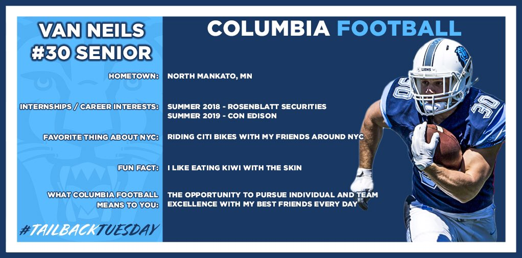 This week for #TailbackTuesday we are getting to know senior Van Neils! #RoarLionRoar #NoZeroDays #InTheCityOfNY https://t.co/vNsYc8h39o