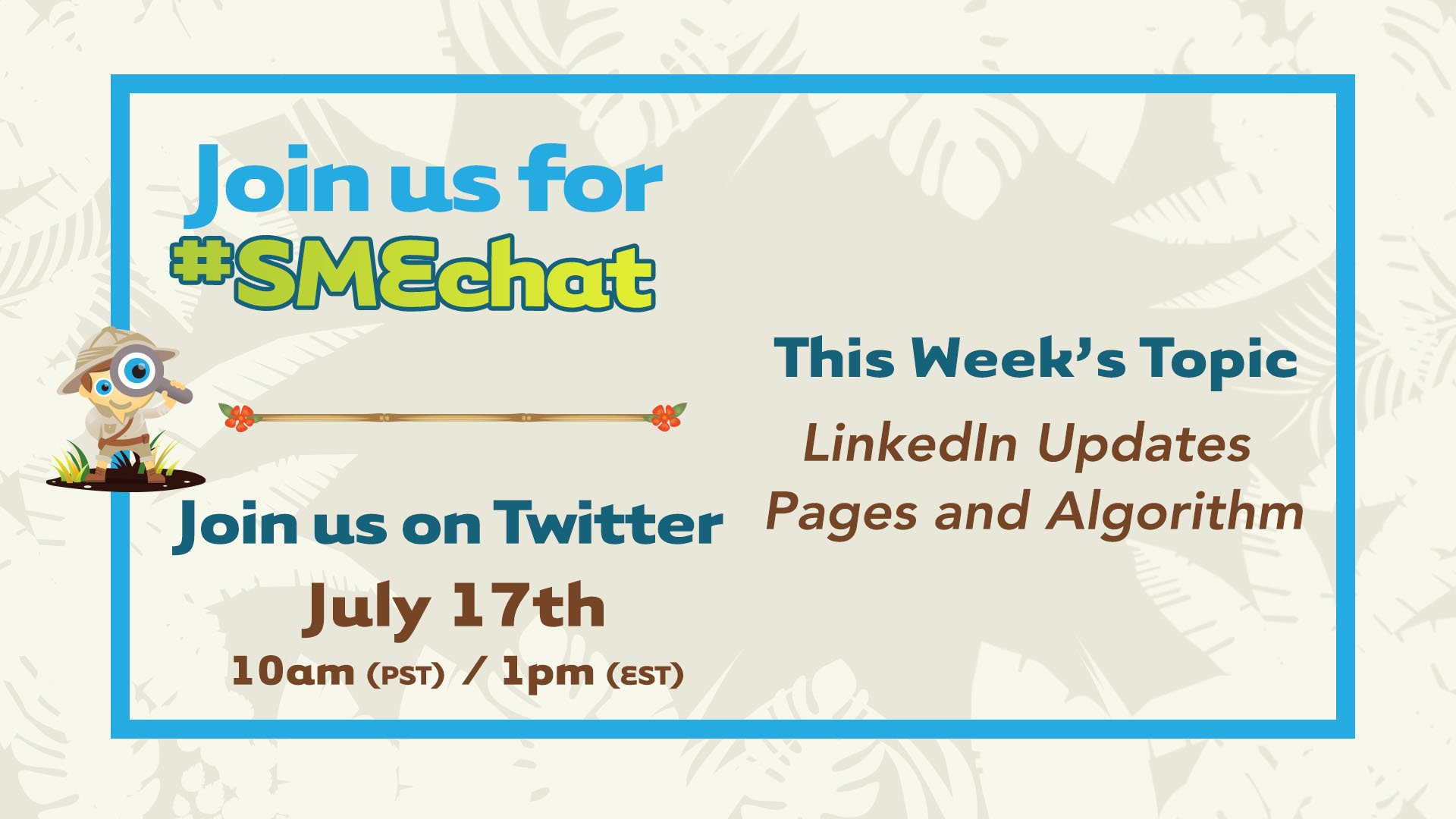 We're so excited for today's #smechat about @LinkedIn! We'll be talking about new CTA buttons on Pages as well as algorithm updates. Bring your friends and let's chat at 1pm ET/10am PST. See you then! -Jen https://t.co/H0spx9Z8ny