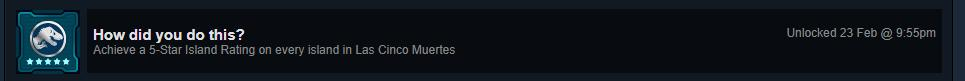 Finished Jurassic World: Evolution on February 23rd, 2019. https://t.co/dLnmaZDDde