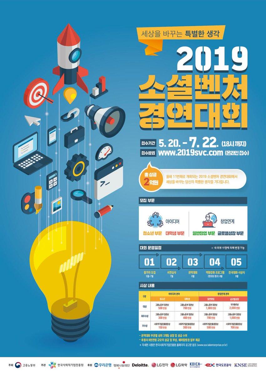 2019년 소셜벤처 경연대회 참가자 모집 7월 22일(월)까지 온라인접수☛ https://t.co/UYdPN6Wb6b 청소년, 대학생, 일반창업, 글로벌성장 부문 혁신적인 아이디어로 사회적가치를 창출하는 소셜벤처 아이디어를 발굴하고 사업화를 지원하는 경연대회에 많은 참가 바랍니다. ☎031-697-7711~9 https://t.co/sQjHDin7zZ