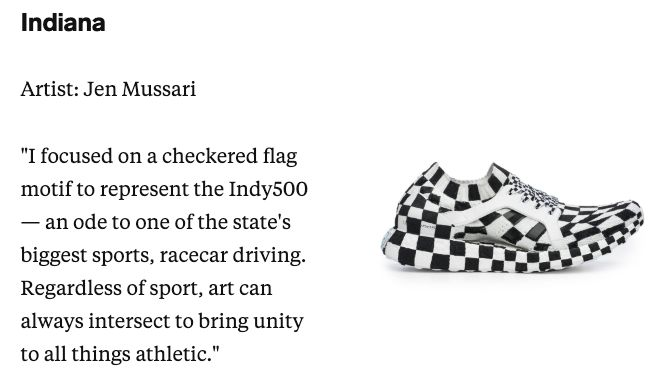 test Twitter Media - When @adidas had artists create a pair of sneakers for every US state, the easiest design to create had to be for Indiana. 🏁👟  Every state's shoe 👉 https://t.co/tdIs1DIyDy  #Indy500 | @IndyCar https://t.co/oiHTKW64wH