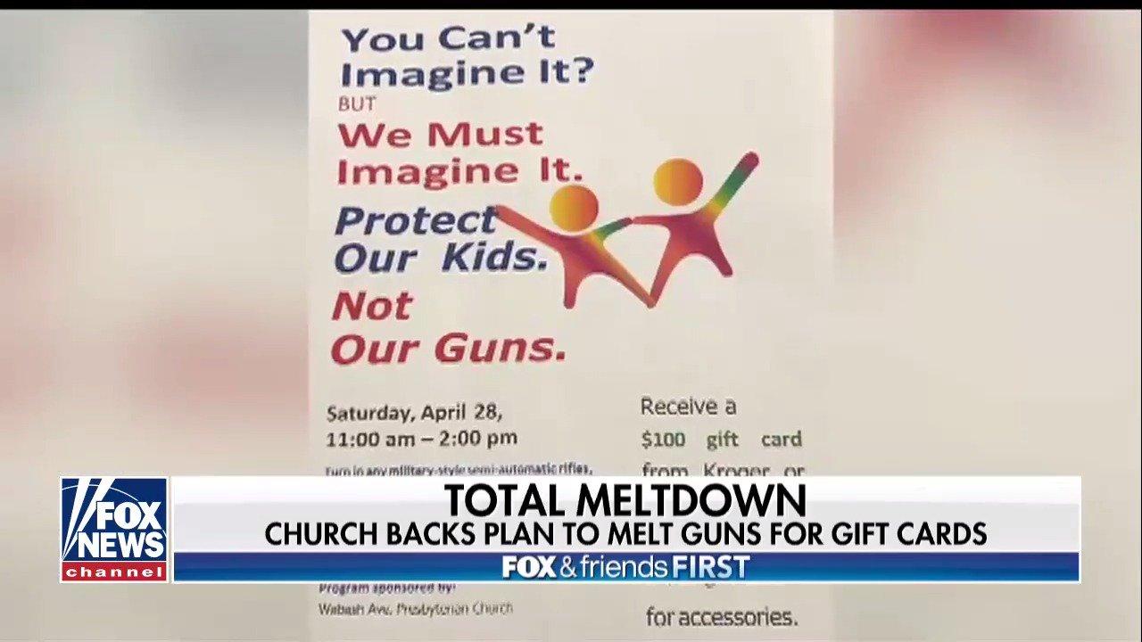 Church backs plan to melt guns for gift cards https://t.co/v7U3uzpEnE
