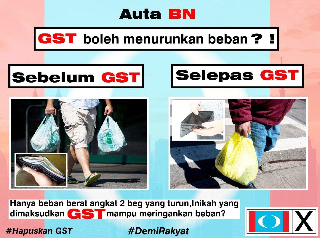 Sebelum GST dpt bawa balik dua beg, selepas GST dpt satu beg. Kurangkan bebanan ha ha https://t.co/cLd3jipaZS