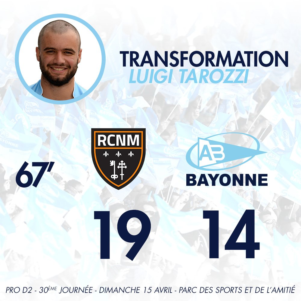 67' Transformation également assurée par Tarozzi 19-14 #RCNMAB https://t.co/5tdFcrVTf8