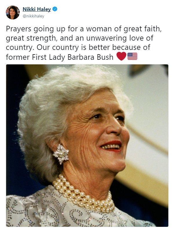 Moments ago, U.S. Ambassador to the @UN @nikkihaley tweeted her prayers for Barbara Bush. https://t.co/lKUu58gf1K https://t.co/PQENMVmNE8