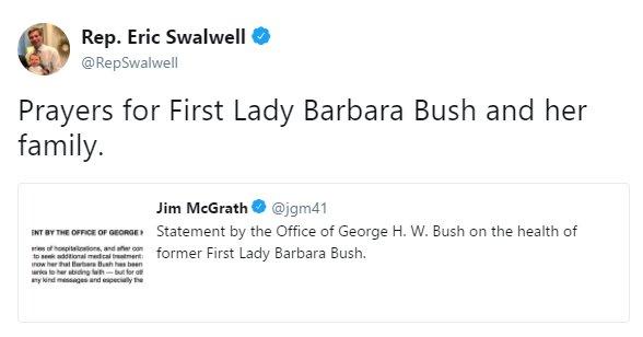Moments ago, @RepSwalwell tweeted his prayers for Barbara Bush. https://t.co/lKUu58gf1K https://t.co/JxYrNWXZ2s