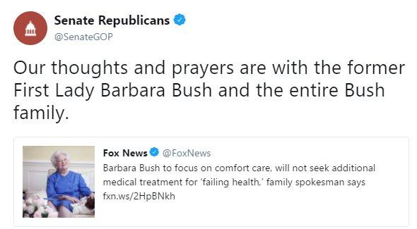 .@SenateGOP sends their thoughts and prayers to former First Lady Barbara Bush. https://t.co/RAbQTdncs1 https://t.co/FLjrYmDEq3