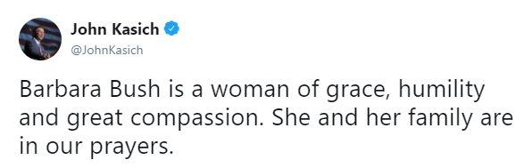 .@JohnKasich sent his prayers to former First Lady Barbara Bush. https://t.co/lKUu58gf1K https://t.co/Nvo5BkJDo3