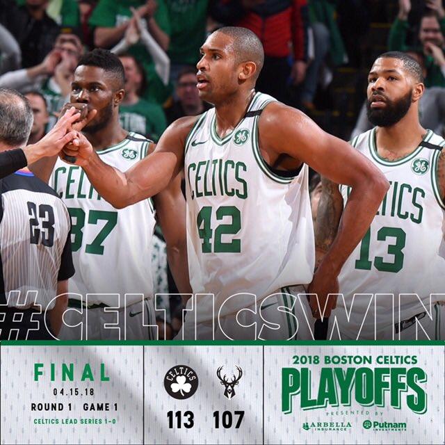 #CelticsWin Game 1 in overtime!  #CUsRise https://t.co/x4Z6NYVPxb