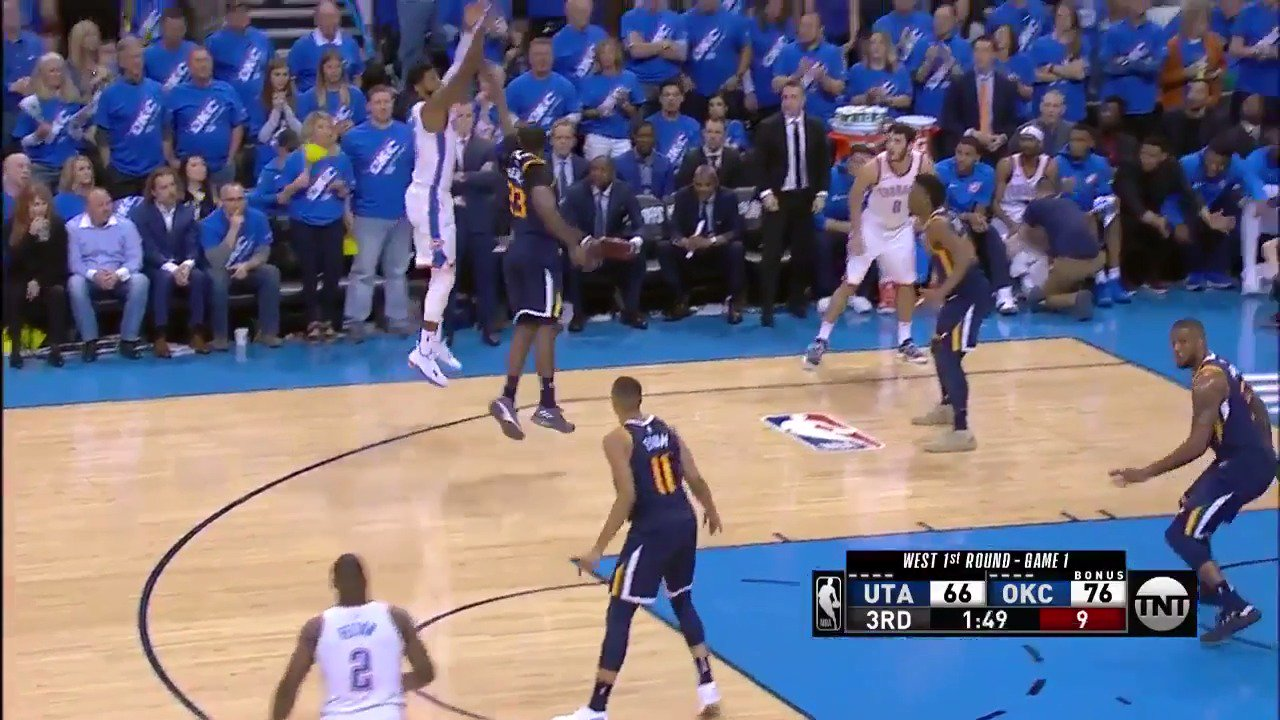 Paul George hits 8 3's and pours in 36 PTS to fuel the @okcthunder Game 1 victory at home! #ThunderUp #NBAPlayoffs https://t.co/FXmCxppsyd