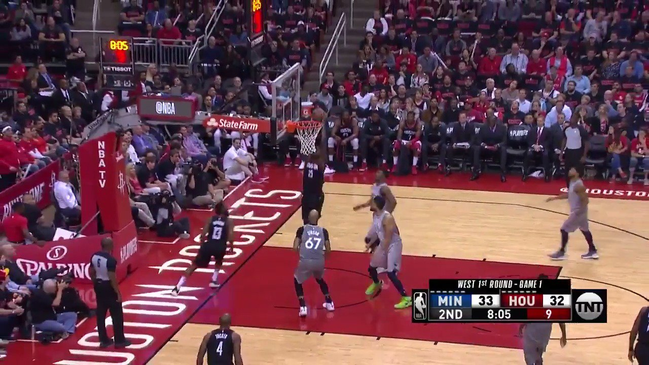Clint Capela paces the @HoustonRockets in the 1st half of Game 1 with 20 PTS, 10 REB! #Rockets #NBAPlayoffs https://t.co/HQnbFsRaeH