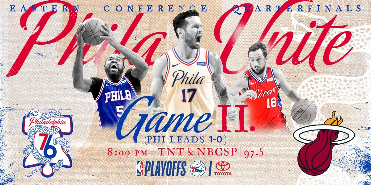 Game II.  ��: @NBAonTNT / @NBCSPhilly  ��: @975TheFanatic ��: #PhilaUnite x #HereTheyCome https://t.co/CDfhfswEJo