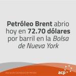 Brent abrió hoy en 72.70 dólares por barril en la Bolsa de Londres #ACP #PreciosPetróleo https://t.co/JxQfR4N2BC