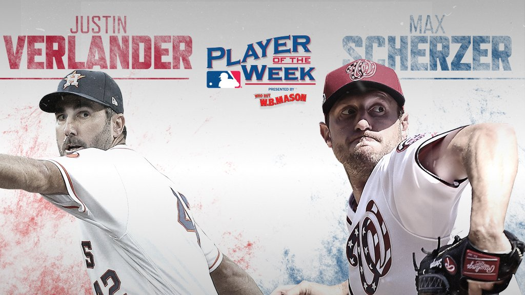 Two aces showing off their best stuff.     Your AL, NL Players of the Week presented by @WBMasonCo. https://t.co/U90FcgWr4c