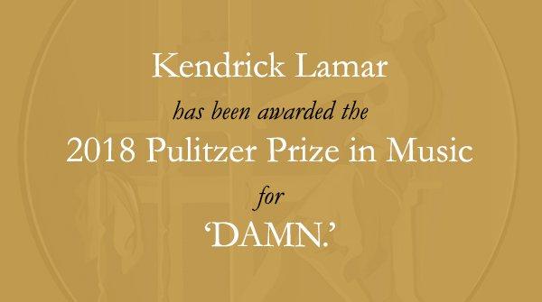 RT @PulitzerPrizes: Congratulations to @kendricklamar, @dangerookipawaa and @Interscope! #Pulitzer https://t.co/fFQBYnoW9F