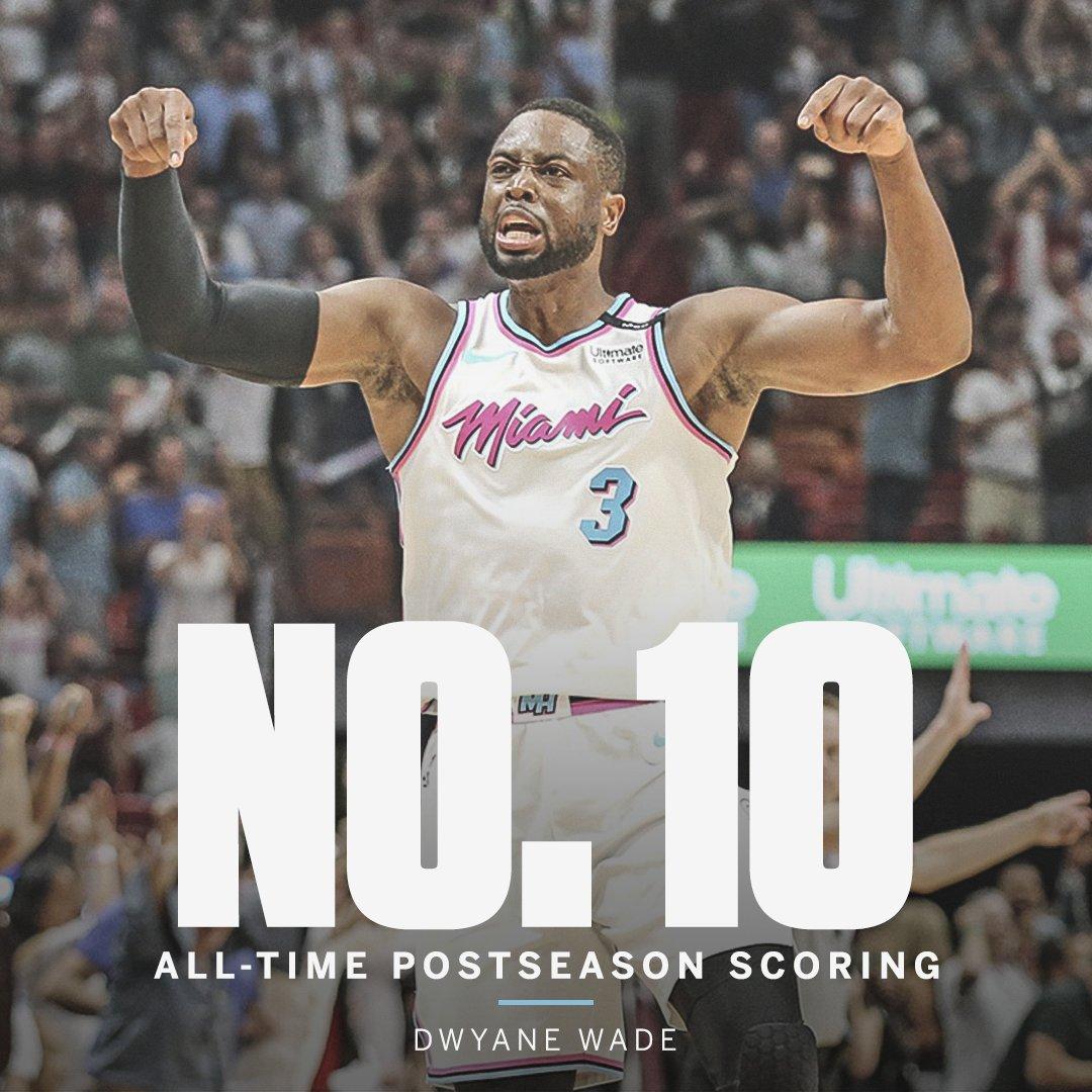 Dwyane Wade passes Larry Bird for the No. 10 spot on the all-time postseason scoring list. https://t.co/PaNkZkmTPi