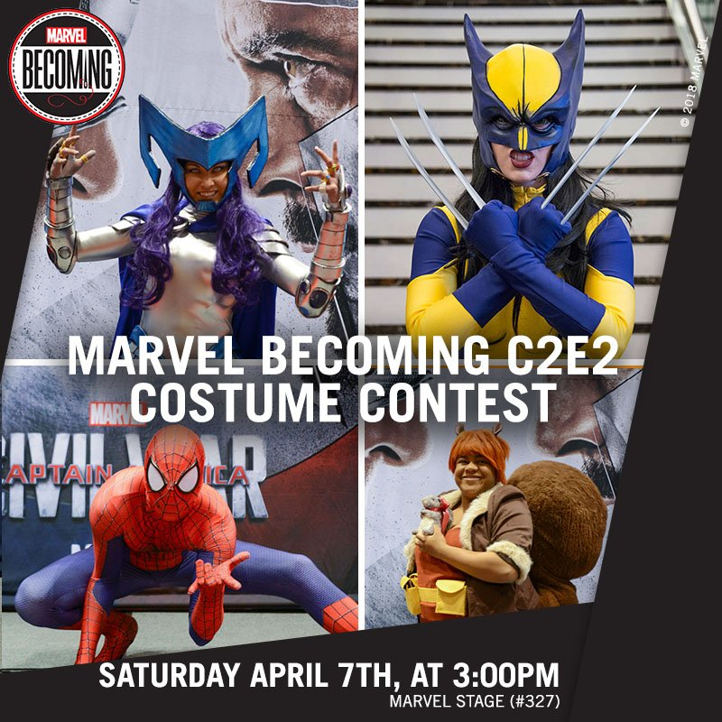 Show us your best cosplay at the #MarvelBecoming @C2E2 Costume Contest! Learn more: https://t.co/qm0XfEJtUq https://t.co/rI30Wpxf97