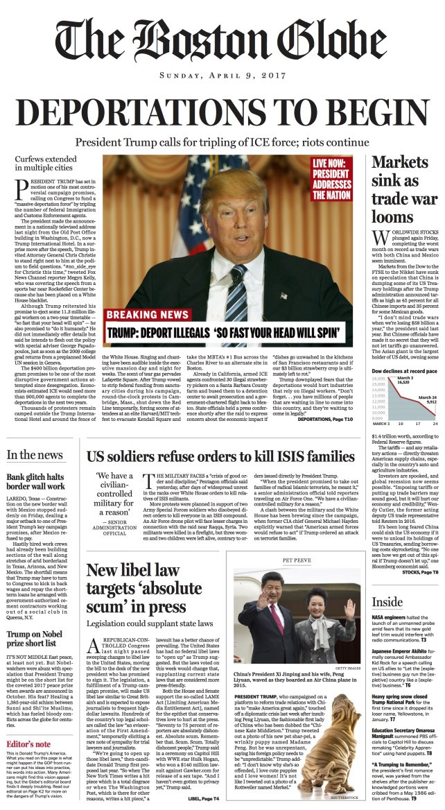 """The parody front page from The Boston Globe.  Published 2 years ago with headlines like """"Deportations to Begin"""" and """"Markets Sink as Trade War Looms"""". https://t.co/gozeRPqOnb"""