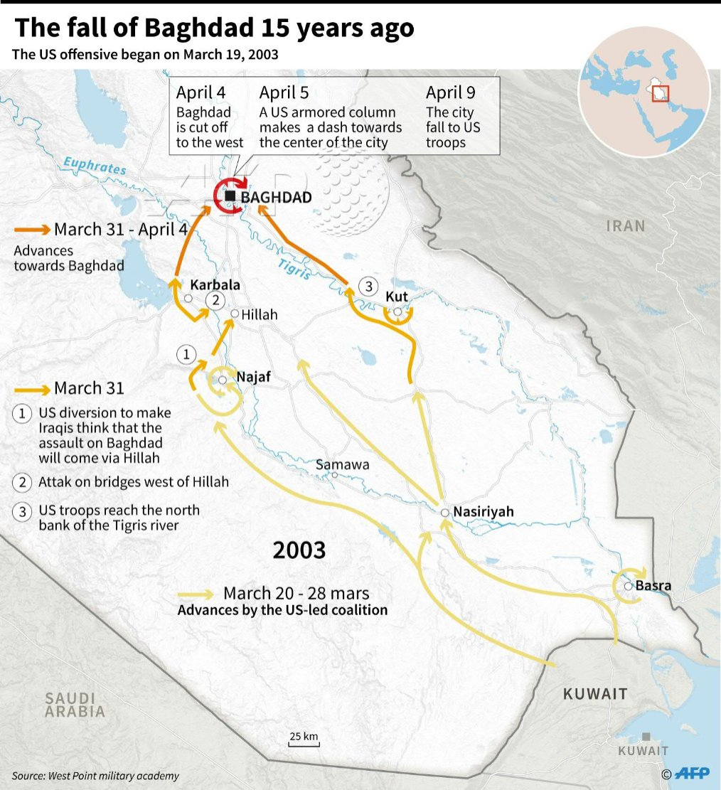Map of iraq illustrating the us offensive that led to the entry of ...