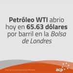 WTI abrió hoy en 65.63 dólares por barril en la Bolsa de Nueva York #ACP #PreciosPetróleo https://t.co/Ac0QiCUL0P