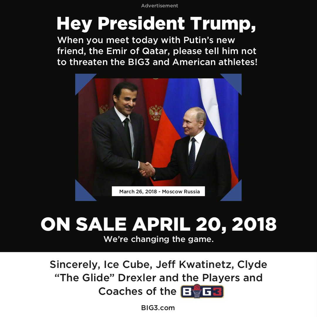 America first? Okay Mr. President, tell 'em to stop fuckin wit @thebig3. https://t.co/UwumJtcUeZ