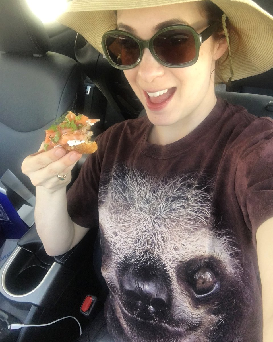 I may not be at Cochella, but I am in my car eating salmon toast and wearing a sloth shirt. Totally same