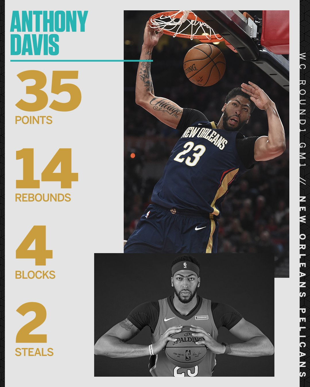 Anthony Davis REALLY wanted his first postseason win. https://t.co/voYJLu1nH1