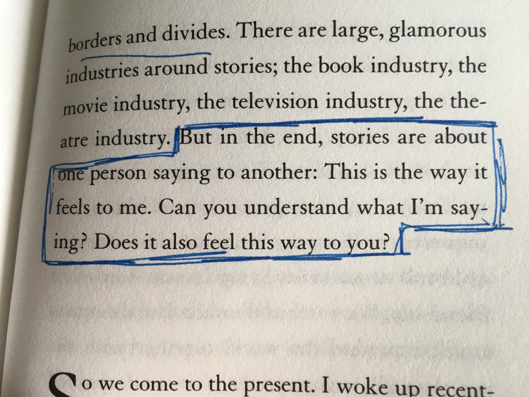 From Kazuo Ishiguro's Nobel acceptance speech. Stories are about one person saying to another, This is the way it feels to me? Does it feel the same to you? https://t.co/khwbGfVrtS