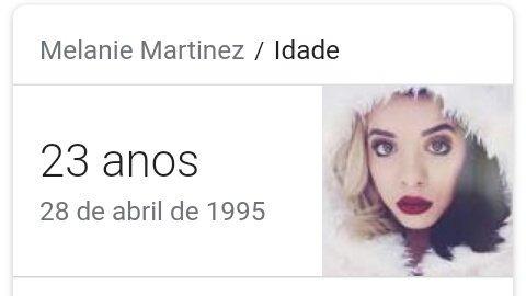 O nome completo de  melanie é  Melanie Adele Martinez,e nasceu dia 28 de abril,HOJE, HAPPY BIRTHDAY MELANIE