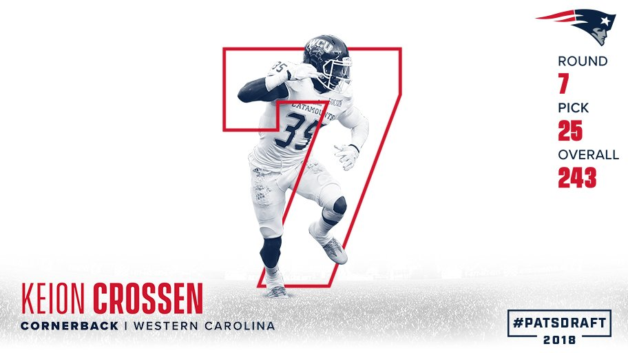 Pick 243 is a cornerback from Western Carolina.   Welcome to New England, @KeionCrossen! #PatsDraft https://t.co/tFfaqGTrMB