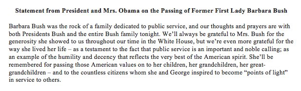 Our statement on the passing of Former First Lady Barbara Bush: https://t.co/MhTVYCL9Nj