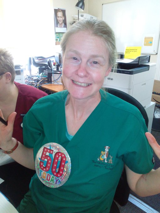 Happy birthday to our RVN and clinical coach Sandra who has reached a rather big birthday today.
