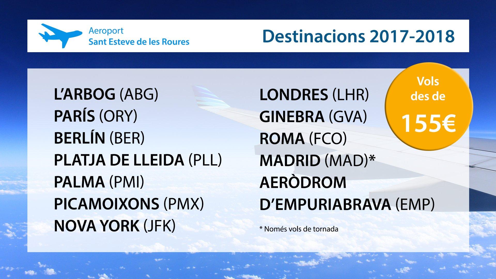 Consulteu les nostres destinacions per a aquesta temporada, operades per #ORNIAIR. Reserveu bitllets a partir de 155€!   ✈ Aeroport de Sant Esteve de les Roures, el lloc on comencen tots els viatges https://t.co/3wGhYp1CQn