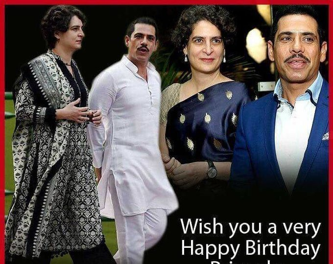 Happy birthday to Robert Vadra ji. Hoping to see you & priyanka mam in active politics.