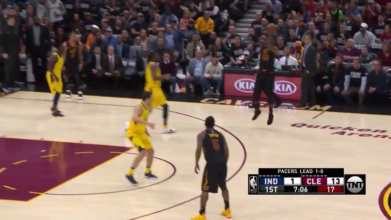 LeBron fires from 3!  LBJ scores the first 16 for @cavs and CLE leads 19-3 in Q1!  #WhateverItTakes https://t.co/acl2ZOOxUW