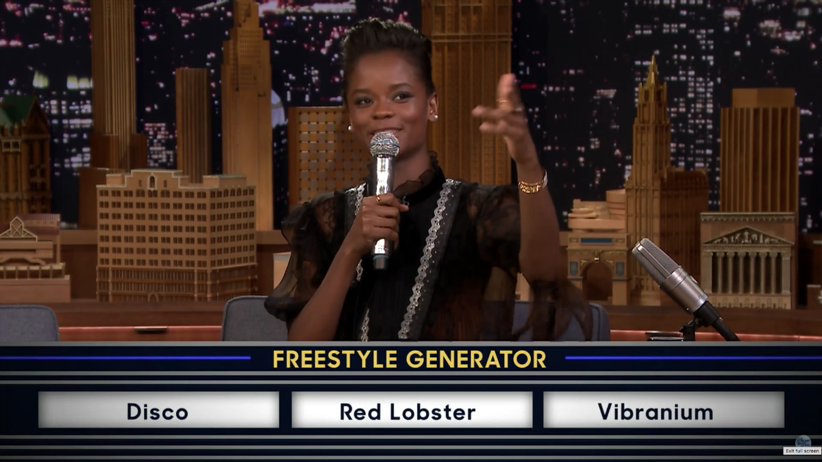 Watch Letitia Wright freestyle rap about vibranium and Red Lobster