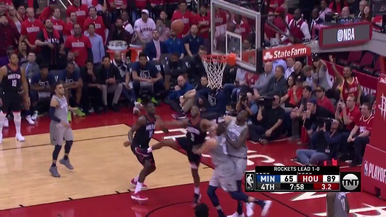 Chris Paul dances and finishes the circus shot!  #Rockets extend their lead in the 4th.  ��: @NBAonTNT https://t.co/JJfTOaEYoF