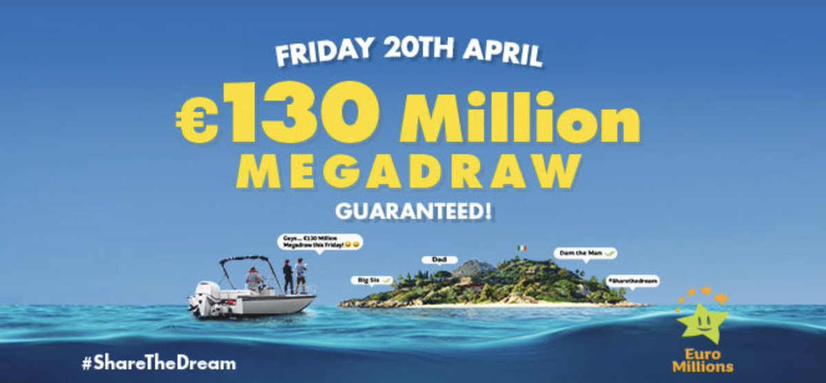 €130,000,000 Euro Millions this Friday.....Make sure you get your ticket!!!! https://t.co/aONnV57Zme