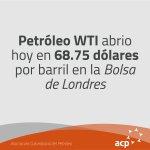 WTI abrió hoy en 68.75 dólares por barril en la Bolsa de Nueva York #ACP #PreciosPetróleo https://t.co/lTuWJfvCeY