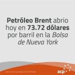 Brent abrió hoy en 73.72 dólares por barril en la Bolsa de Londres #ACP #PreciosPetróleo https://t.co/gQYV8jYLZJ