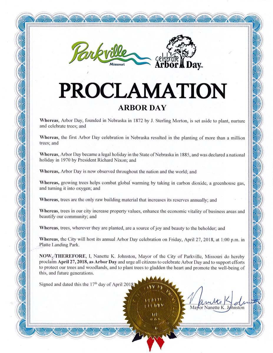 test Twitter Media - At Tuesday night's Board of Aldermen meeting, @parkvillemo Mayor Johnston presented an Arbor Day proclamation to Public Works Director Alysen Abel. The City will host an Arbor Day celebration on April 27th at 1pm near the dog parks in Platte Landing Park. https://t.co/3v331IcjQO