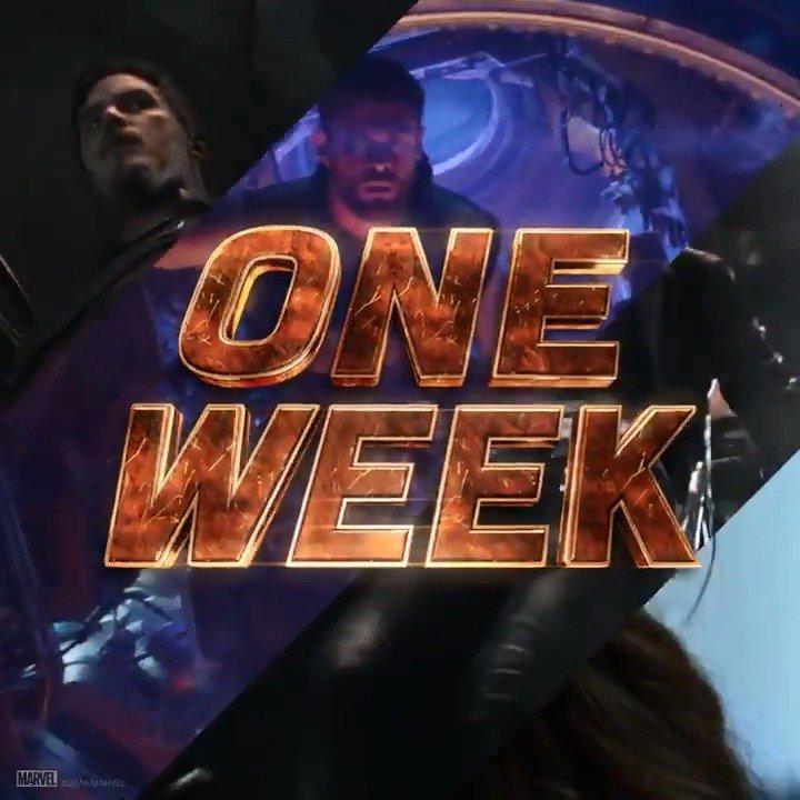 See Marvel Studios' @Avengers: #InfinityWar in one week. Get tickets: https://t.co/JjbjHze1VD https://t.co/1Z03KVlipG