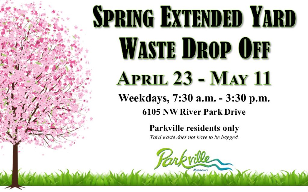 test Twitter Media - Don't forget! @parkvillemo residents can drop off yard waste at 6105 NW River Park Drive April 23-May 11 from 7:30 a.m. to 3:30 p.m. Yard waste does not have to be bagged. Proof of residency required. https://t.co/fxKf7p6iE2