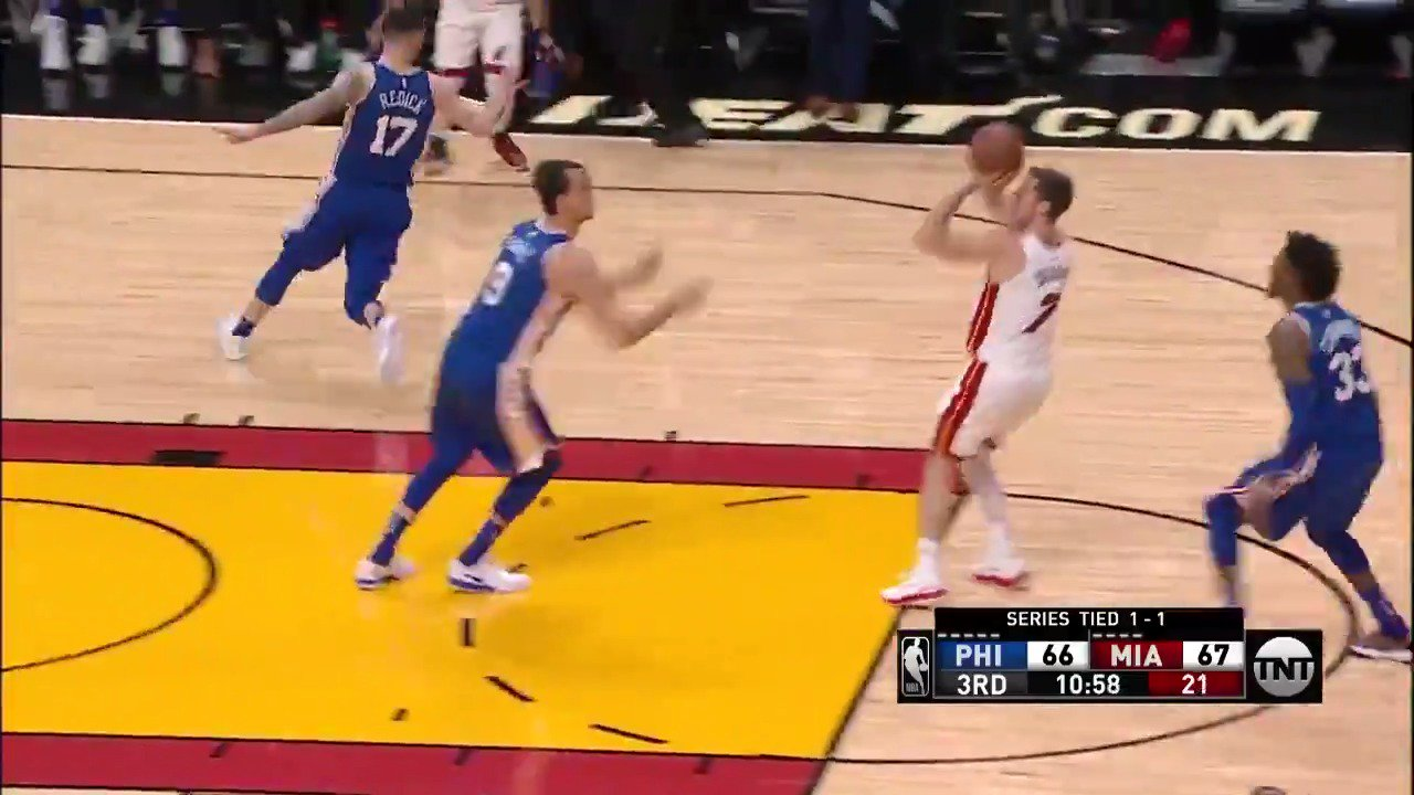 Quick 5 to start half #2 for Goran Dragic!  #WhiteHot & #PhilaUnite is back underway.   ��: @NBAonTNT https://t.co/Y0ZuqMN0bv