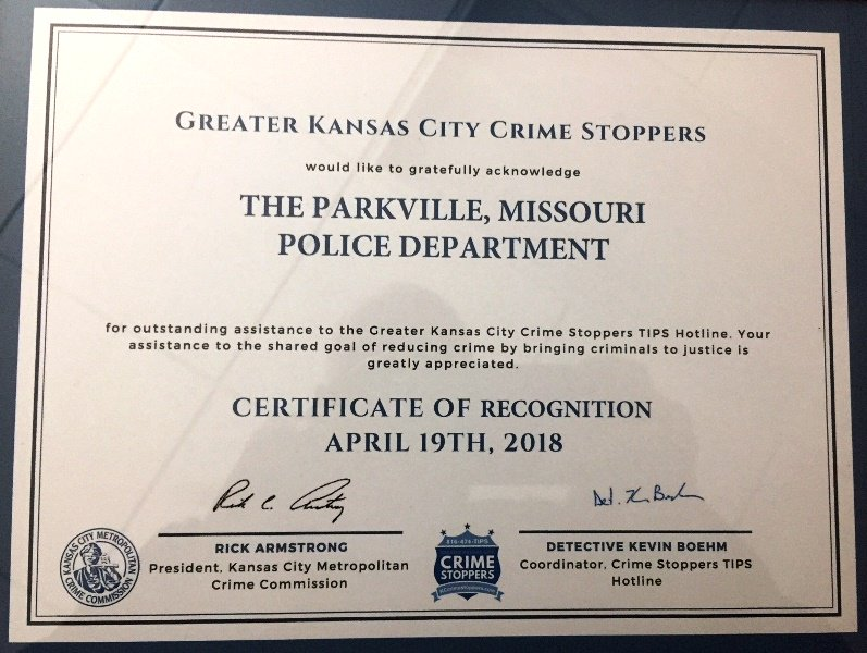 test Twitter Media - Congratulations to our @parkvillemo Police Department for receiving a certificate of recognition from the Kansas City Metropolitan Crime Commission today for outstanding service to the TIPS Hotline! @KCCrimeStop #ParkvilleMoPD https://t.co/DZme2EkOB1