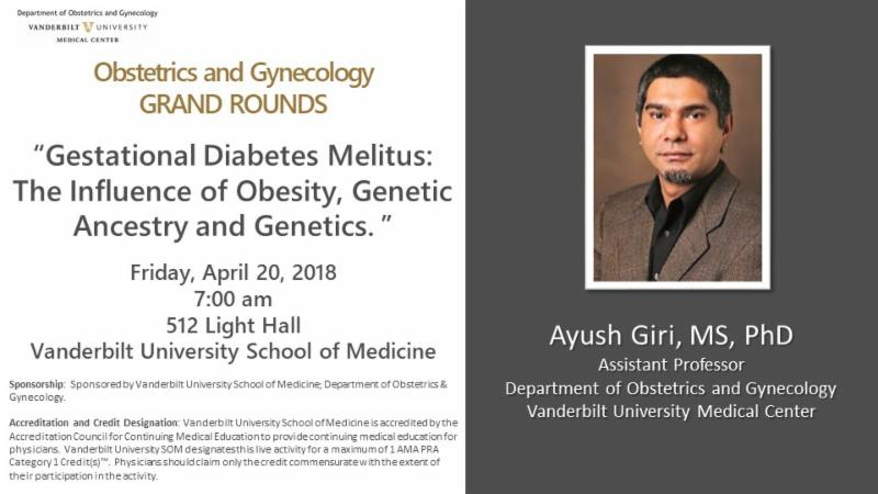 "test Twitter Media - Looking forward to hearing from Ayush Giri, PhD tomorrow @VUMC_obgyn Grand Rounds: ""#GestationalDiabetes Melitus: The Influence of #Obesity, Genetic Ancestry and #Genetics."" @VUMChealth @VUSM #womenshealth https://t.co/WDeI9BxlOi"