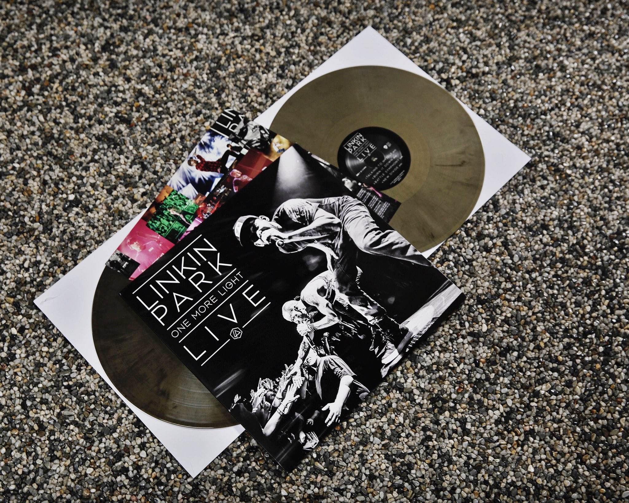 One More Light Live on gold/black vinyl available this Saturday @recordstoreday #recordstoreday #onemorelight https://t.co/hhMAbt7Va6