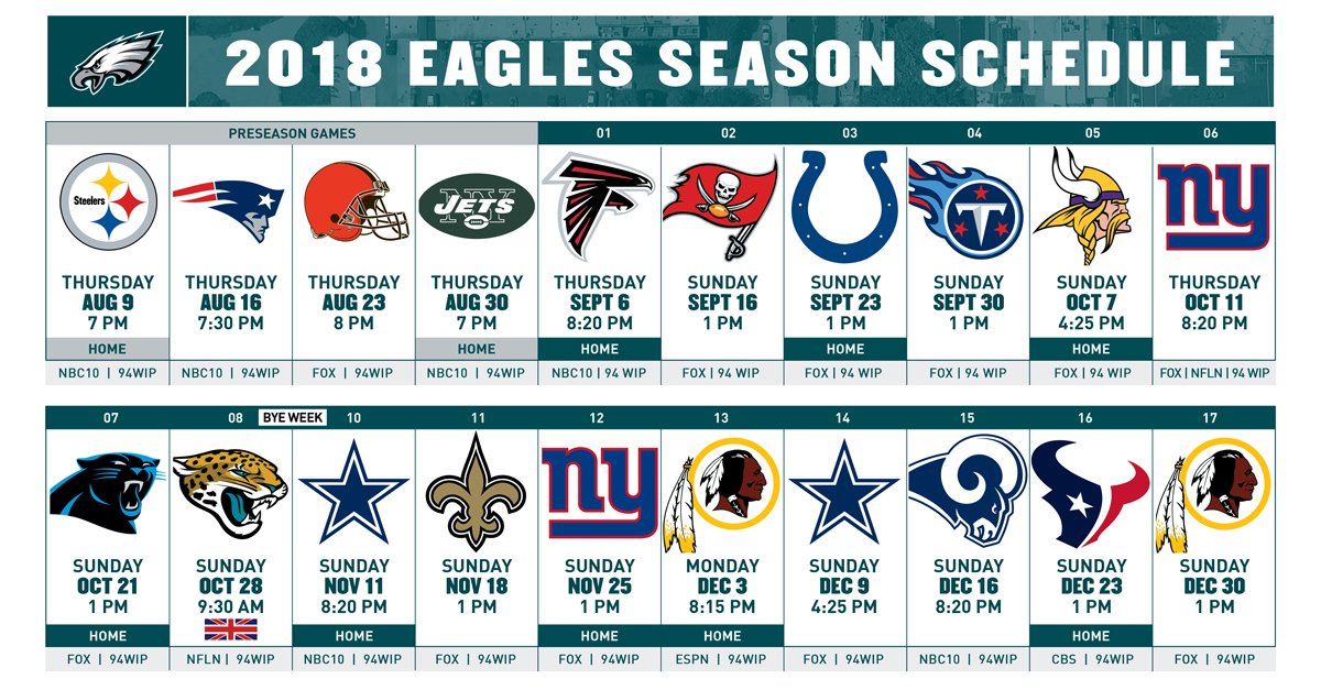 RT @Eagles: Take a closer look at the #Eagles 2018 schedule. #FlyEaglesFly  More Details: https://t.co/bm3jOIGtth https://t.co/h0duZ5MisR
