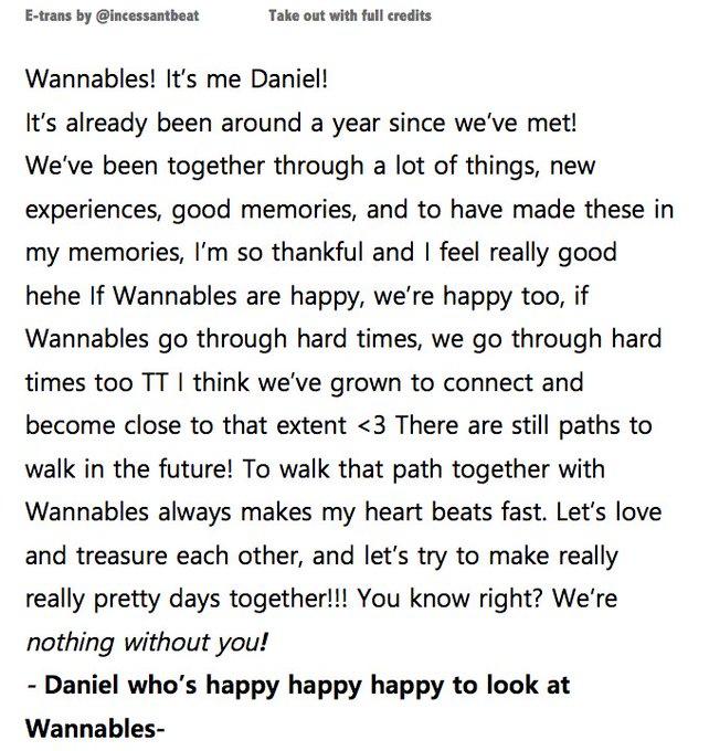RT @incessantbeat: [ENG] Daniel's letter to Wannables (official merchandise) https://t.co/alkodRylRm