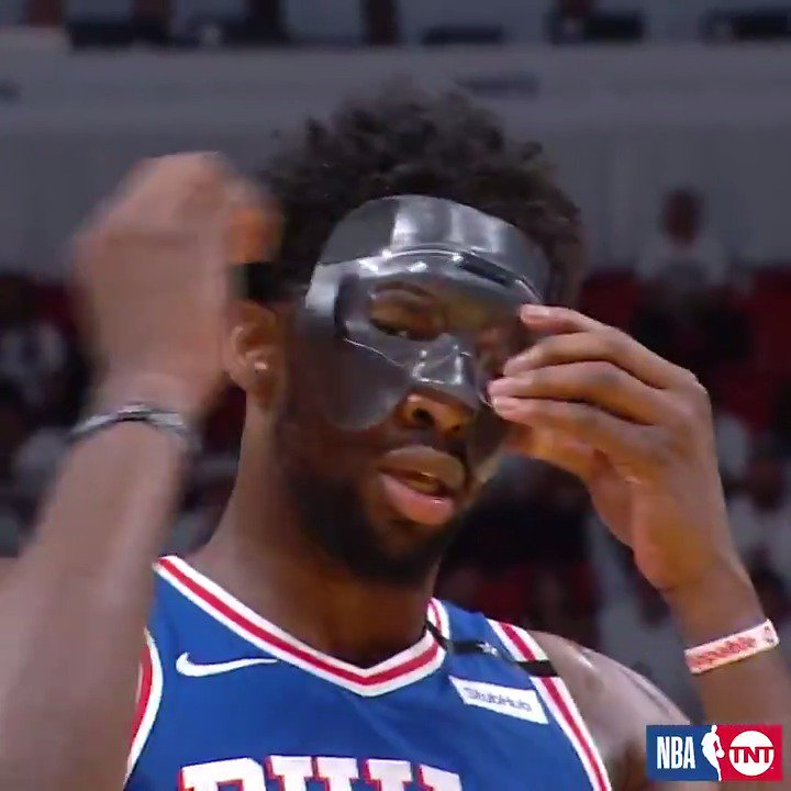 Mask on... Mask off... ��  It didn't matter in @JoelEmbiid's #NBAPlayoffs debut! #PhilaUnite https://t.co/bHdQDHVCvO